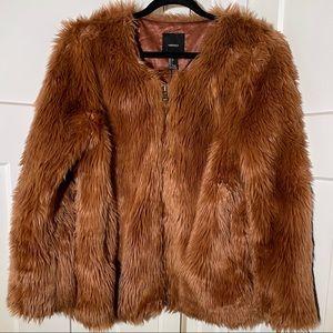 Forever 21 Mauve Faux Fur Shag Cropped Jacket